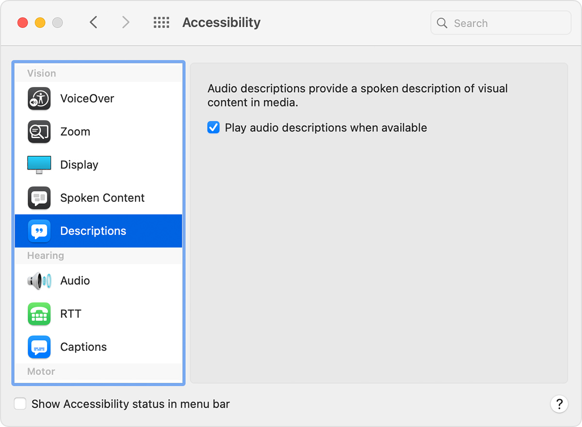 "Accessibility System Preferences Descriptions with ""Play audio descriptions when available."" selected"