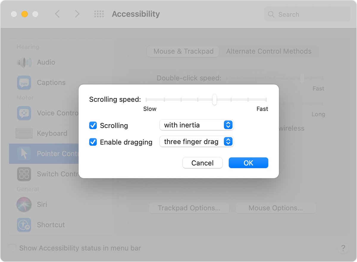 Accessibility preferences window pointer control options with three finger drag selected