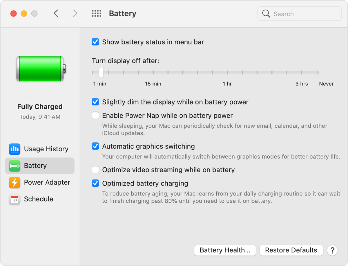 "macOS Battery Preferences window with ""Automatic graphics switching"" selected"
