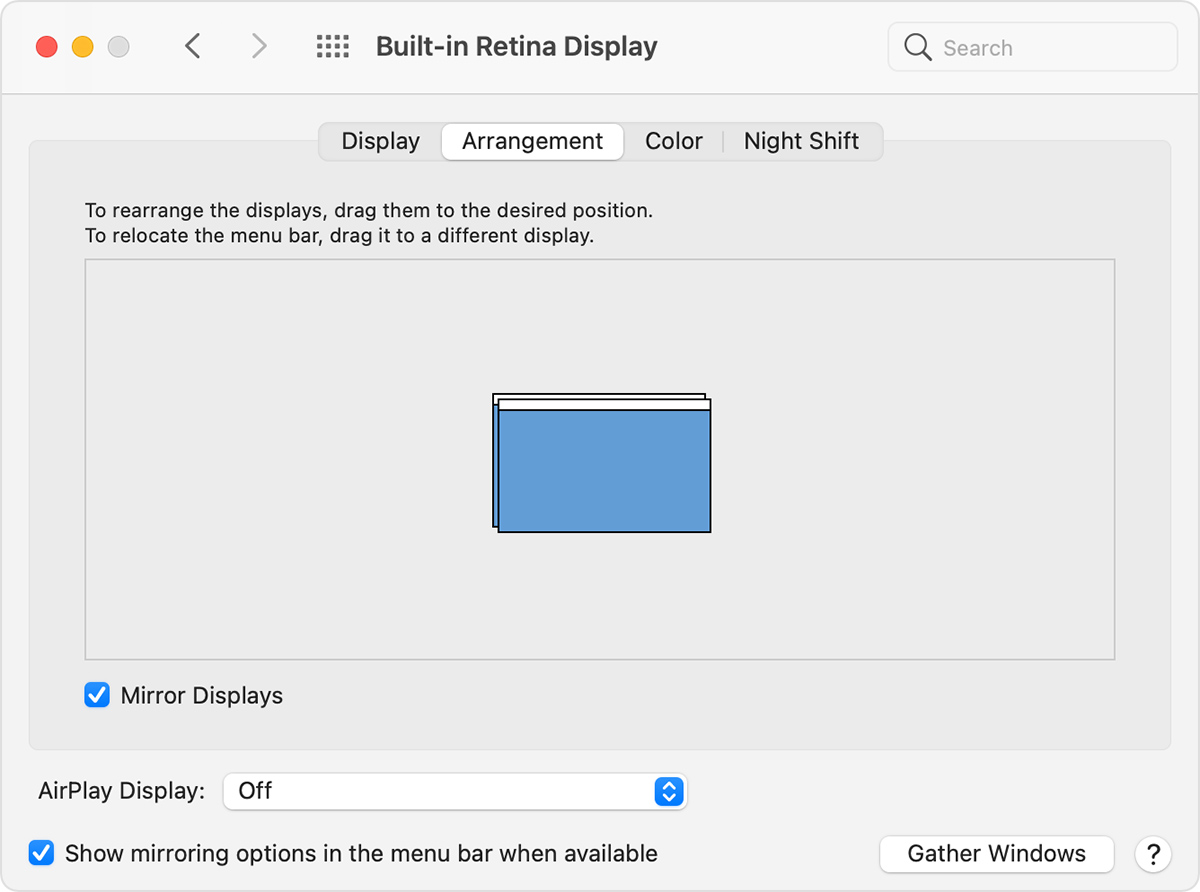 The arrangement tab of Displays in System Preferences with Mirror Displays enabled