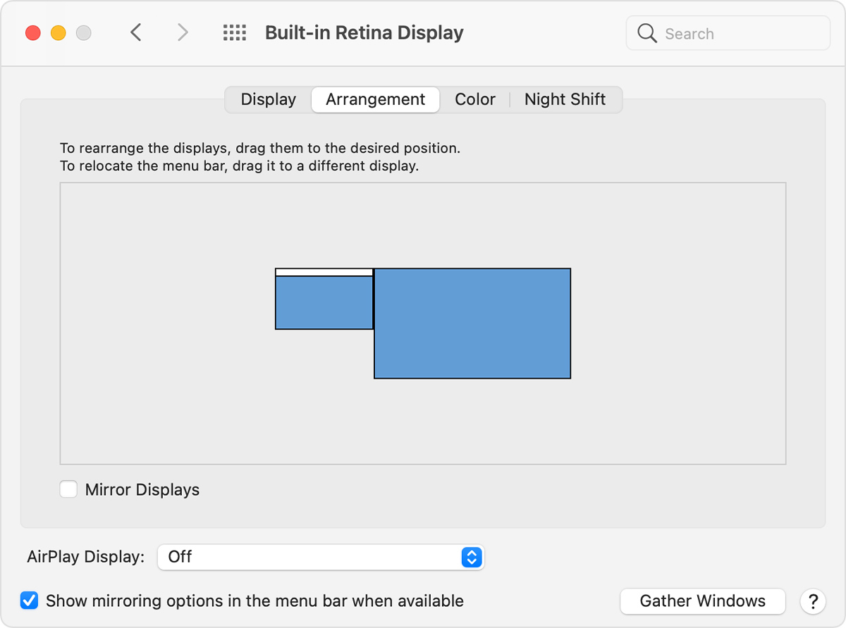 The Arrangement tab of Displays in System Preferences