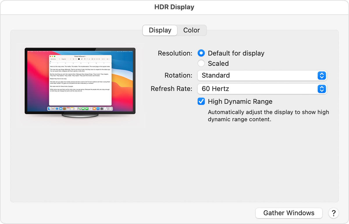 External HDR display preferences window