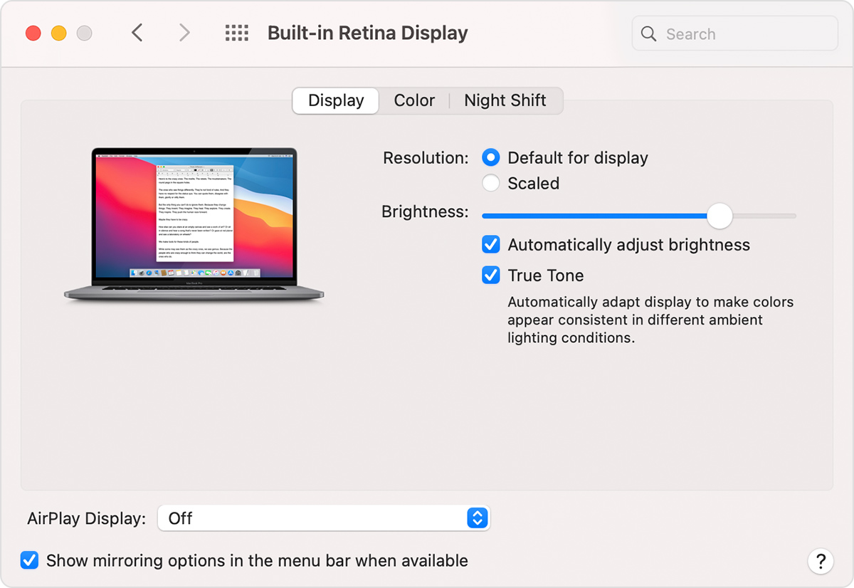 macOS Big Sur Display System Preferences window with True Tone turned on