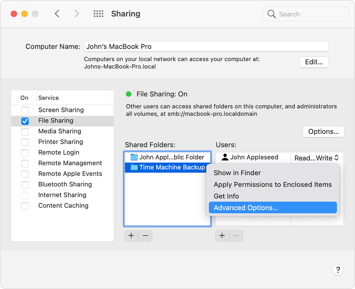 macOS Sharing System Preferences Shared Folders options
