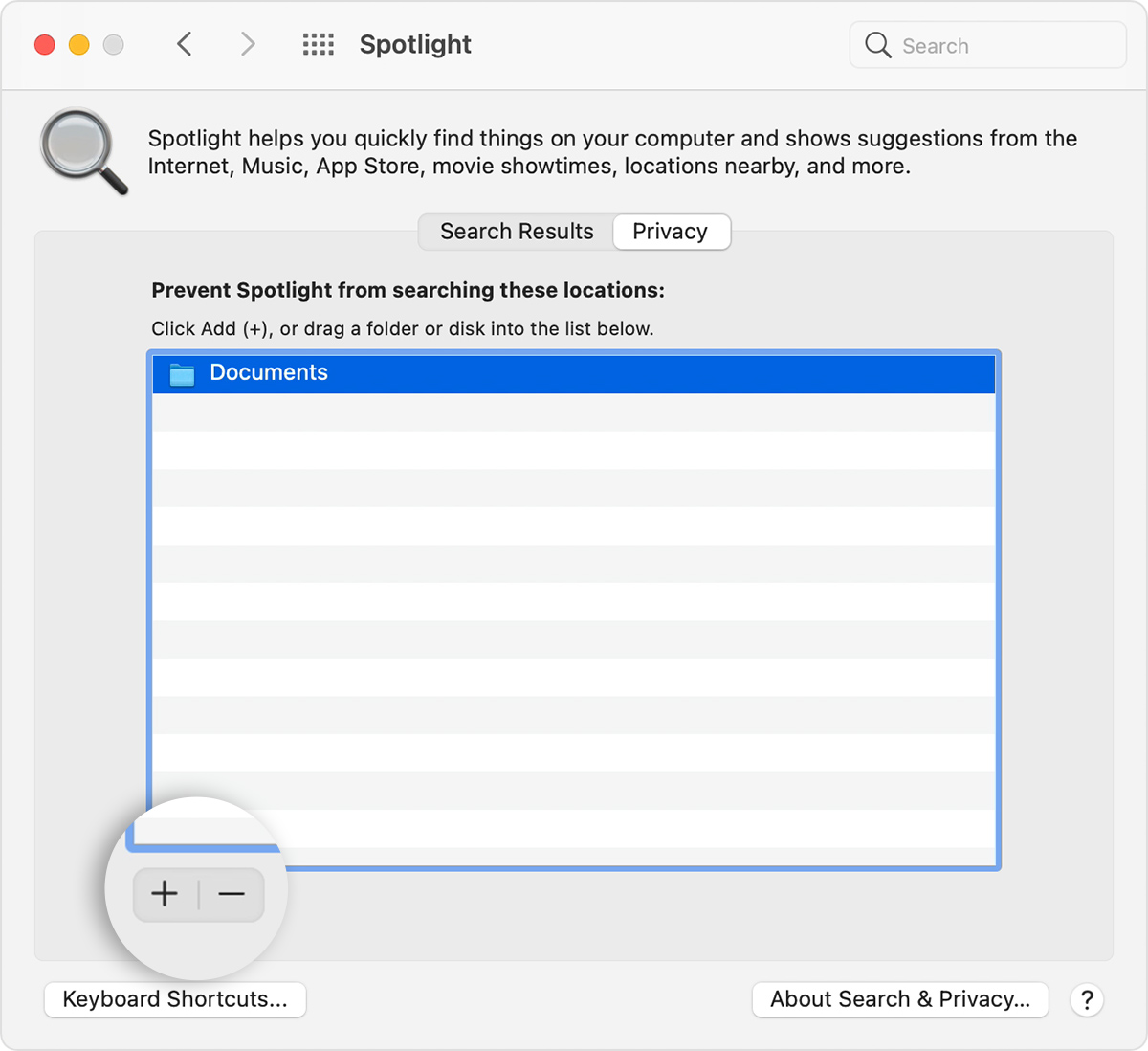 Spotlight System Preferences Privacy tab with add and remove button callout