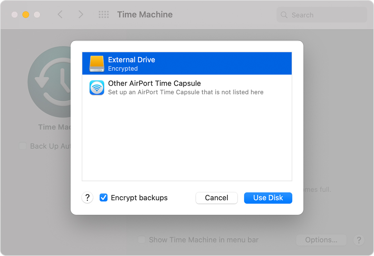 macOS System Preferences Time Machine window Select Backup Disk chooser