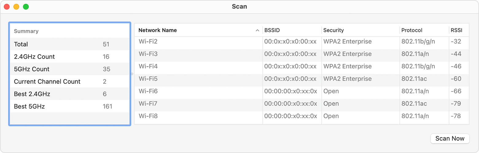 Wireless Diagnostics scan results window