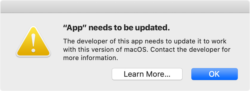 Catalina alert: App needs to be updated