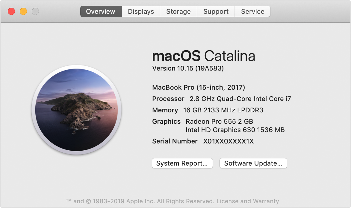 About This Mac window for macOS Catalina