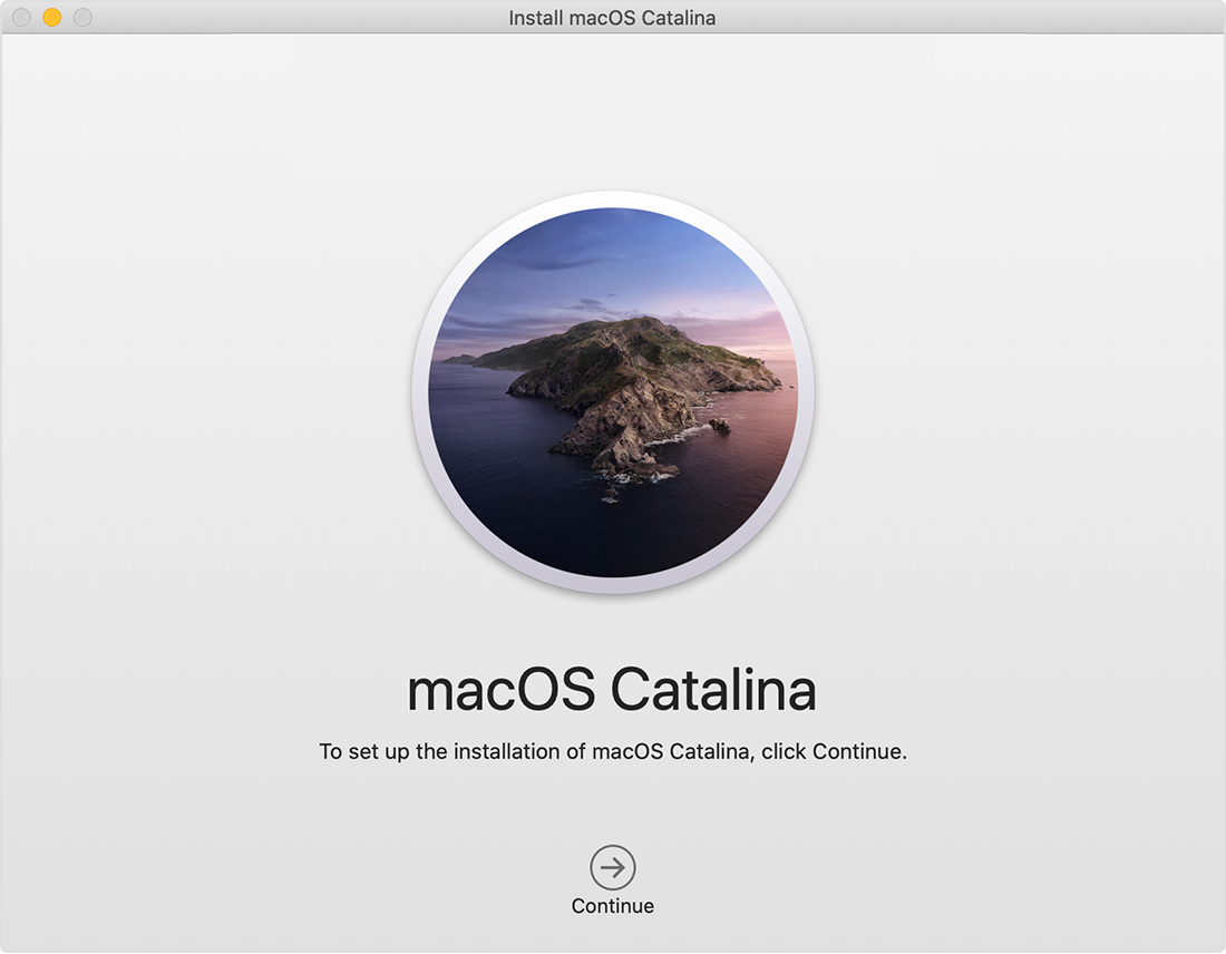 macOS Catalina installer window