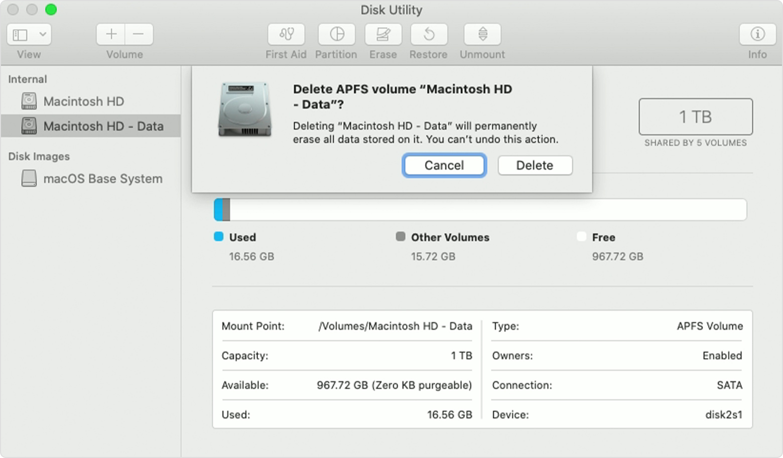 Deleting a data volume in Disk Utility