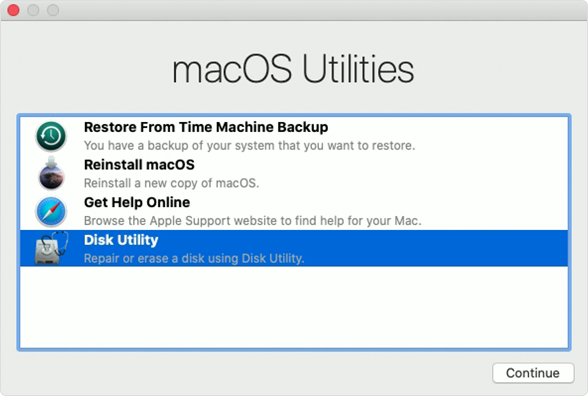 The macOS Utilities window in Recovery