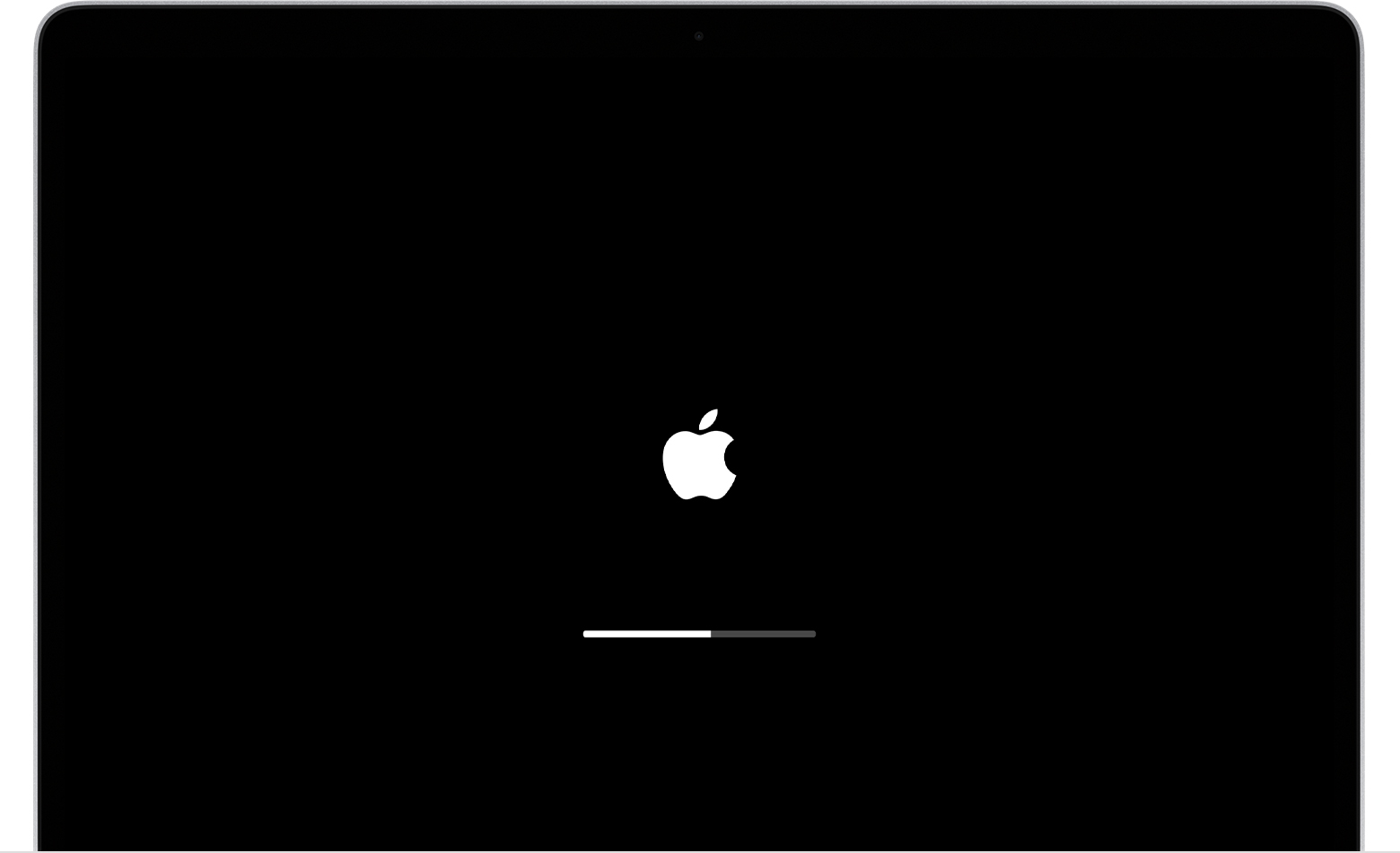 Apple logo with progress bar