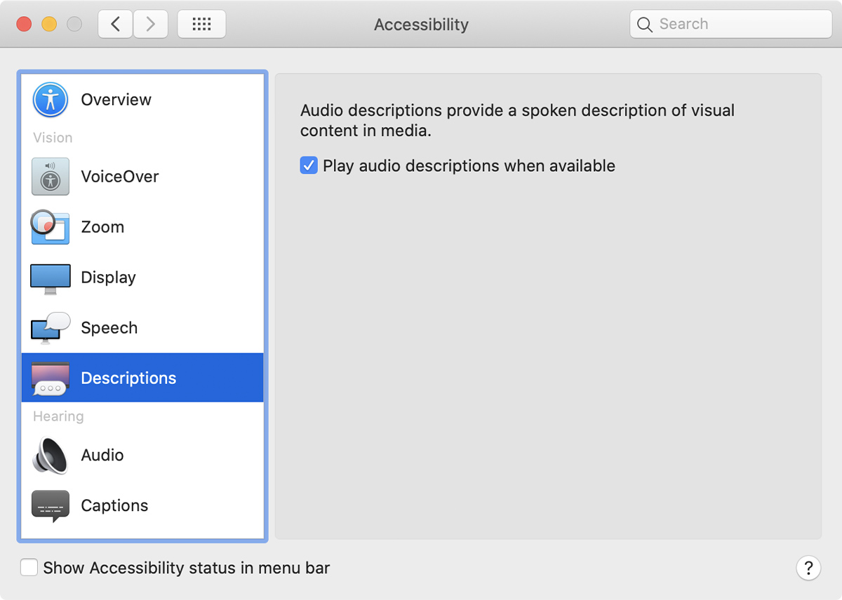 Accessibility preferences window