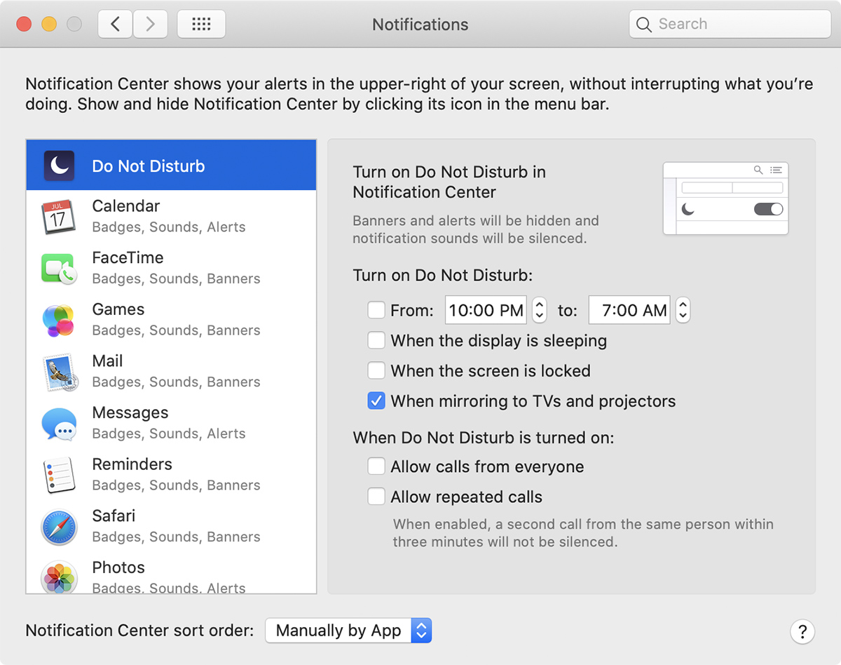 Notifications preferences