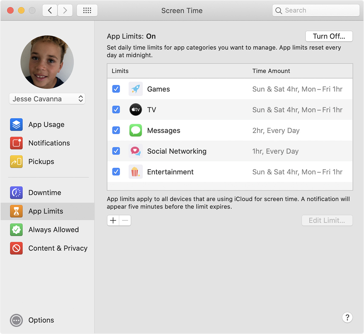 Screen Time preferences: App Limits