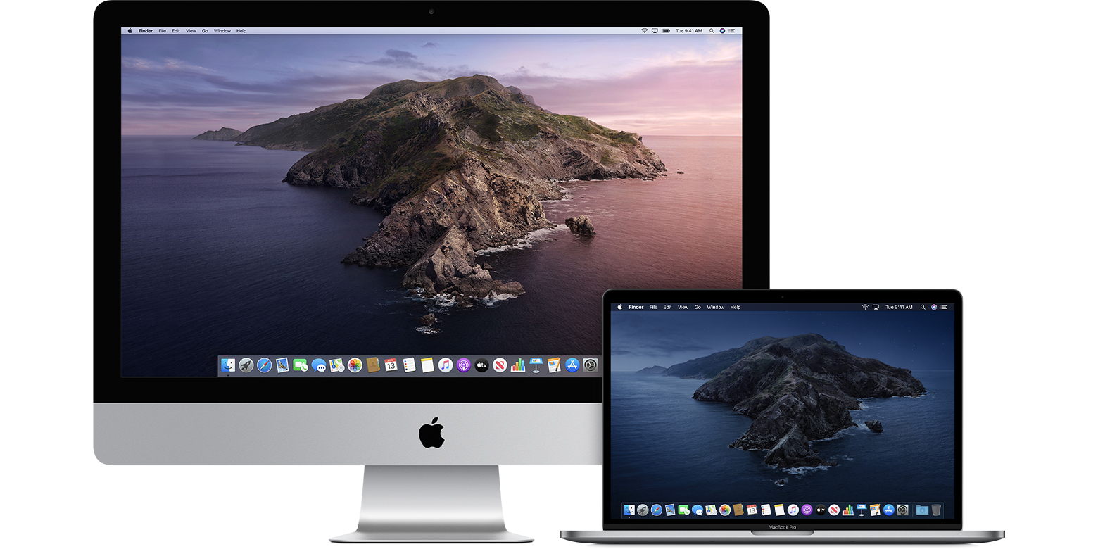 iMac and MacBook Pro showing the Catalina background
