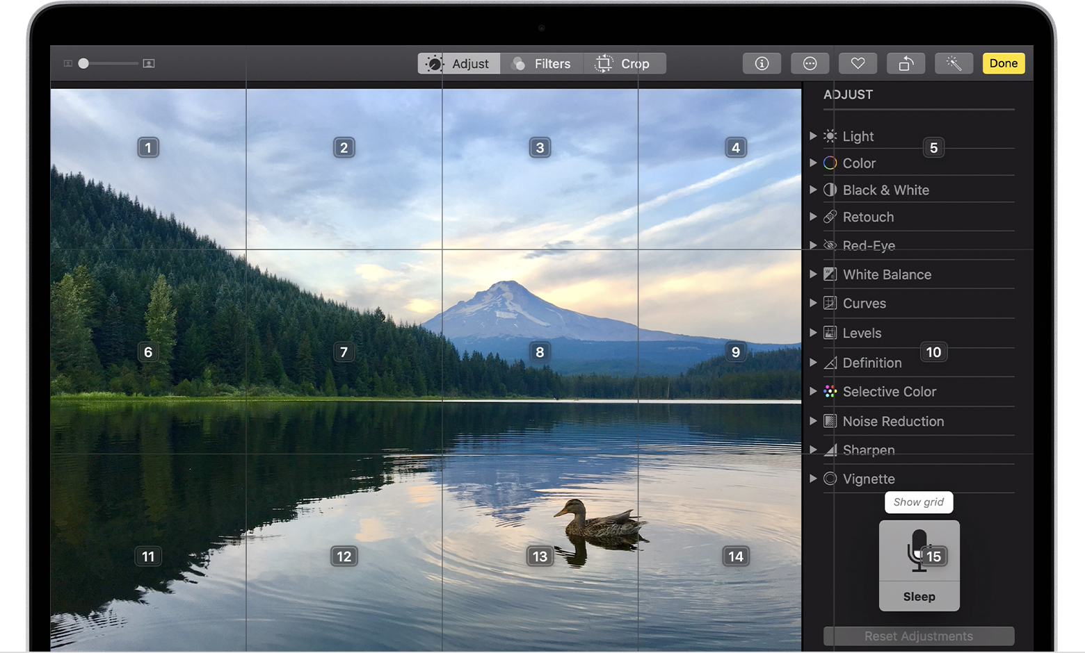 Grid overlays on a Photos window