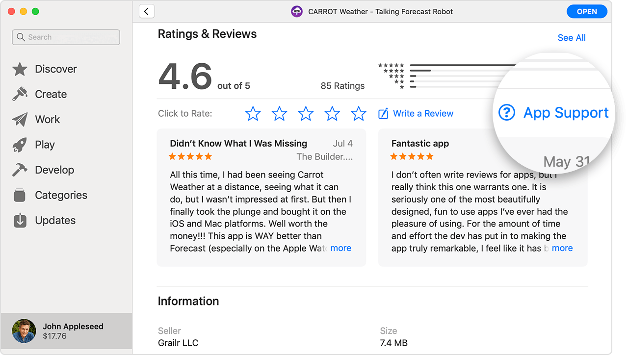 A screenshot of the App Store on Mac showing the Ratings & Reviews section of an app's information page. The App Support button is magnified.