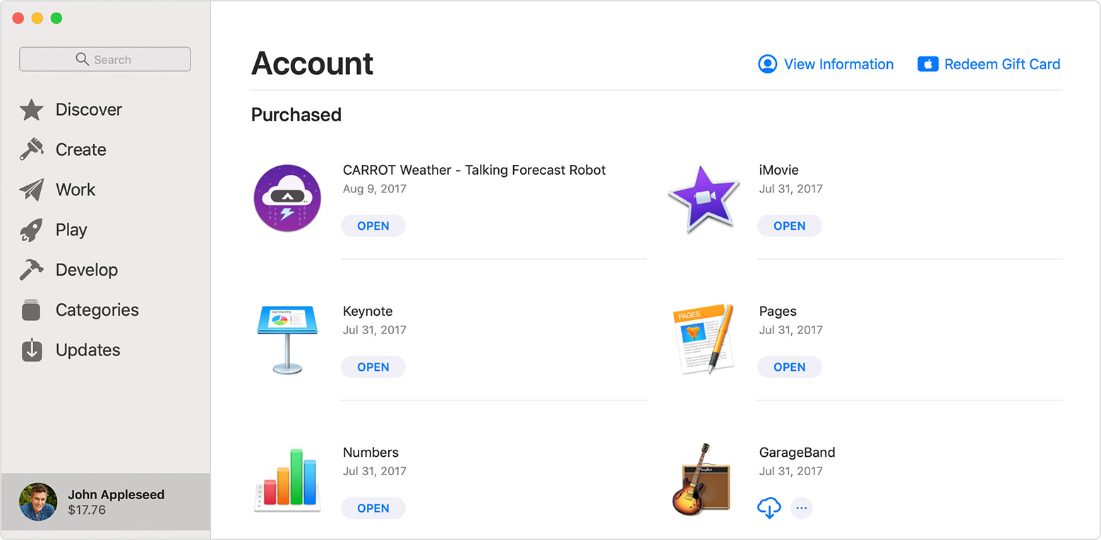 The App Store on Mac open to the Account screen, showing purchased apps.