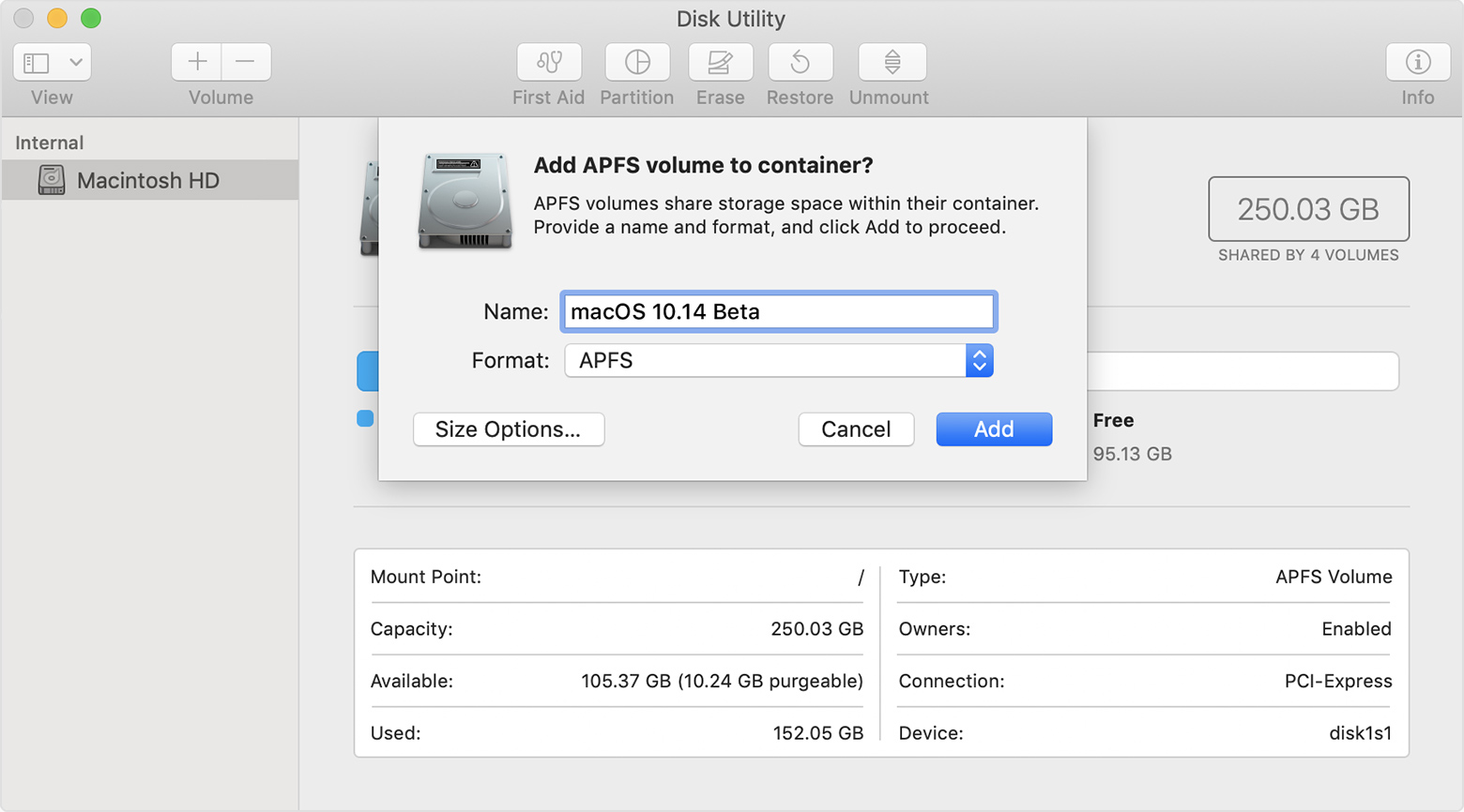 Disk Utility: Add APFS volume to container?