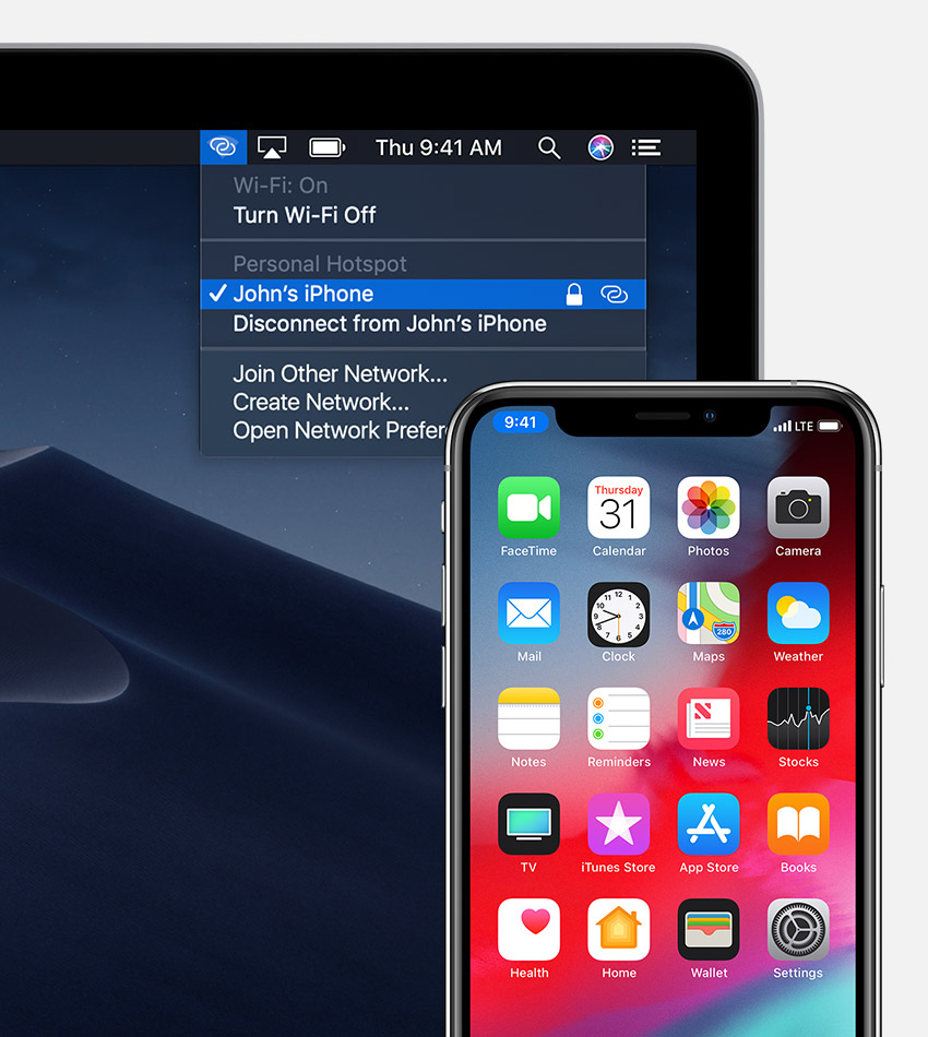 Mac computer showing the Wi-Fi status menu connected to an iPhone Personal Hotspot, and an iPhone showing a blue status bar indicating an active Personal Hotspot connection