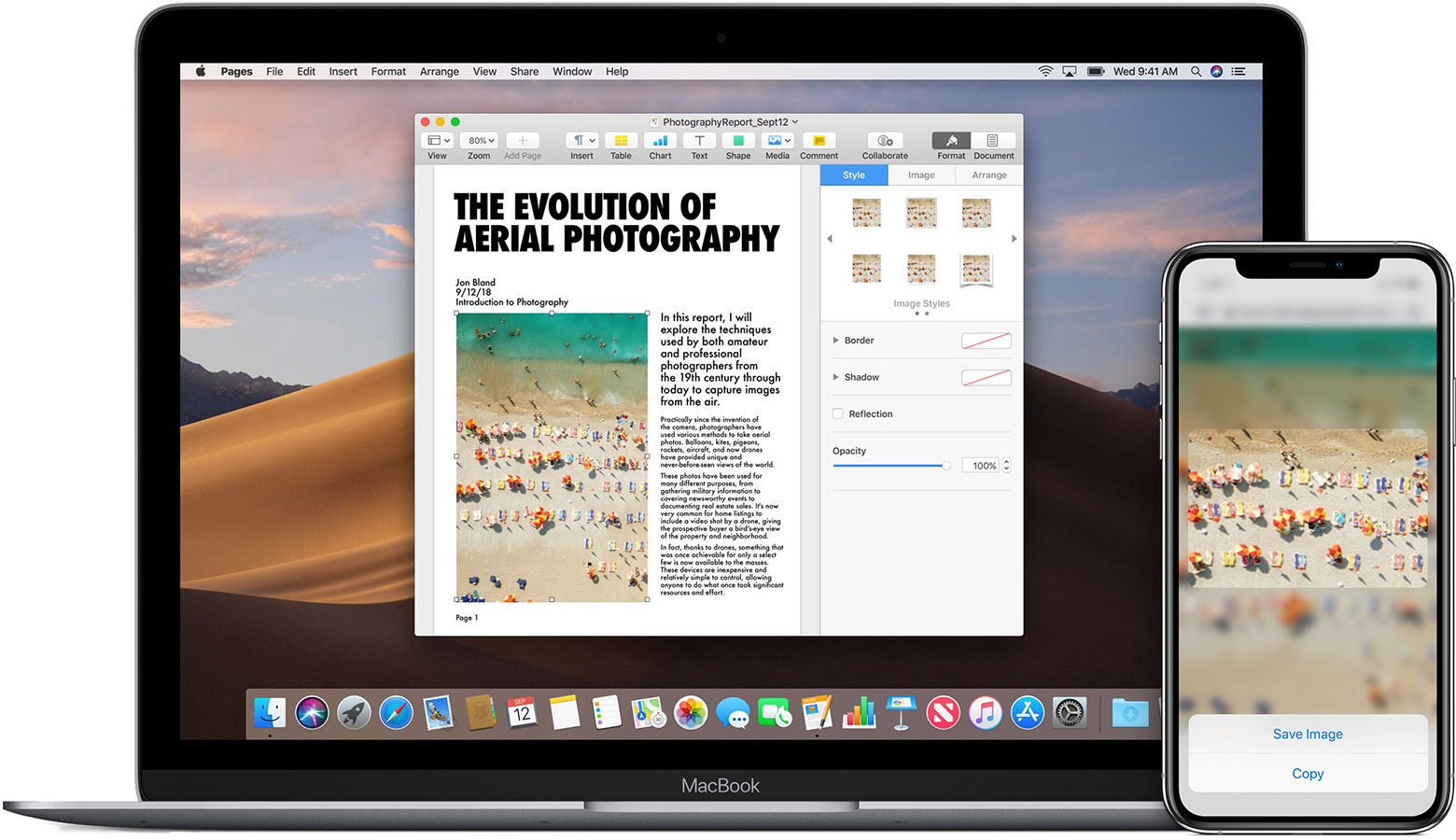 An iPhone displaying an image with the Copy option displayed, alongside a MacBook with a Pages document open that contains the same image.