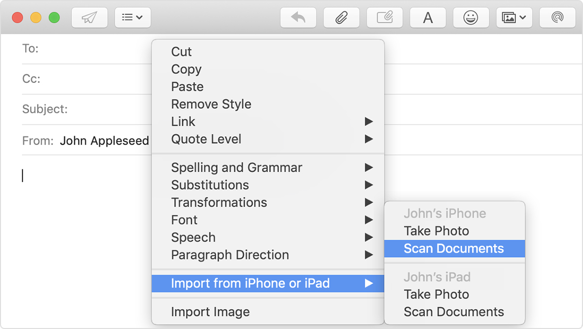 the Import from iPhone or iPad menu in a Compose message window in Mail