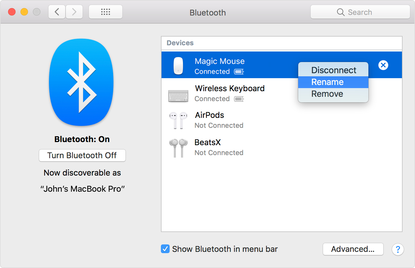 Clicking rename on a bluetooth device in the bluetooth pane of System Preferences