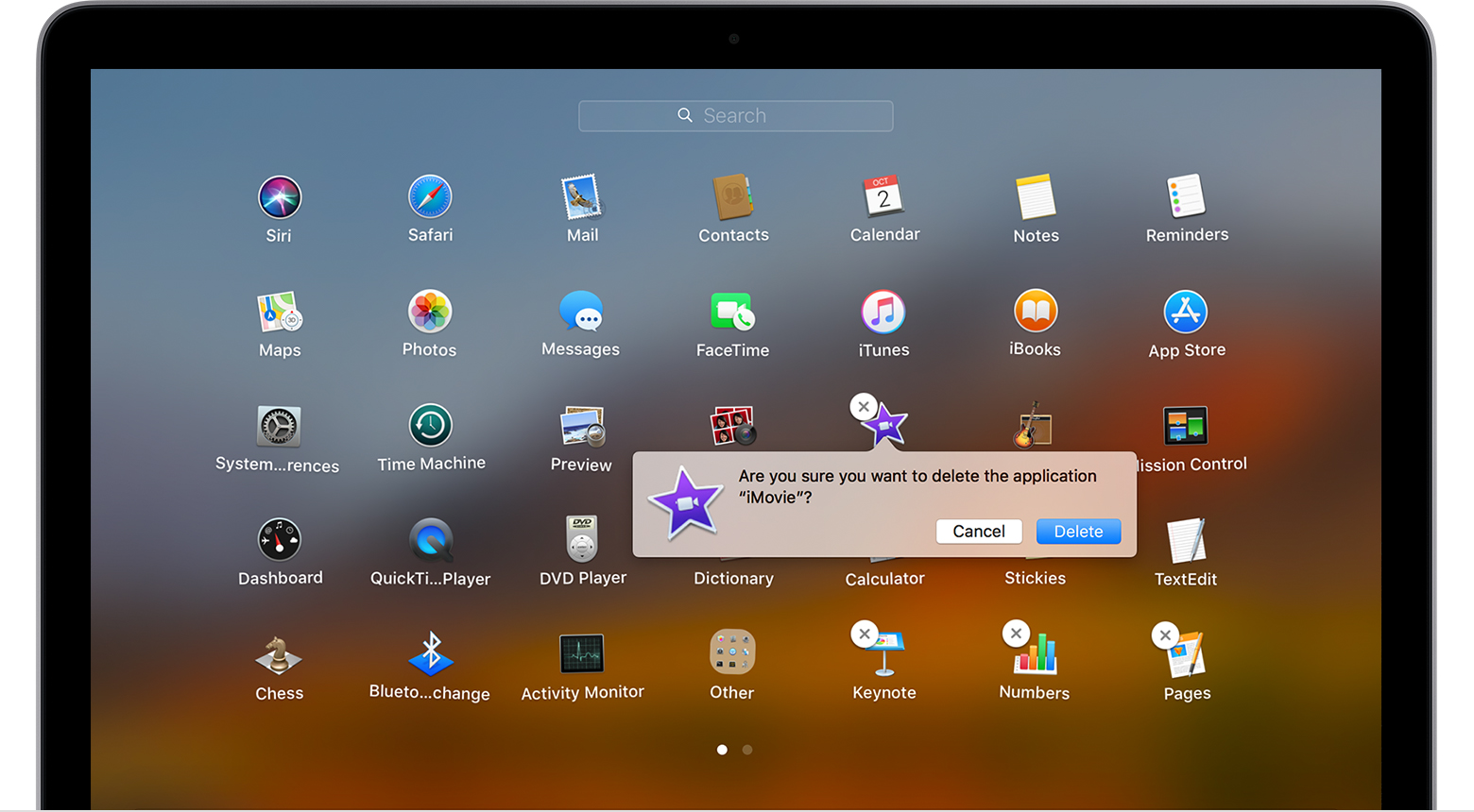 Delete app message in Launchpad