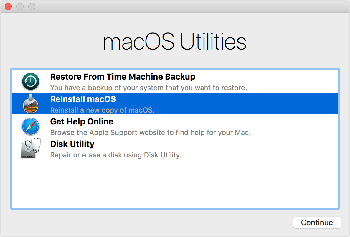 macOS Utilities window