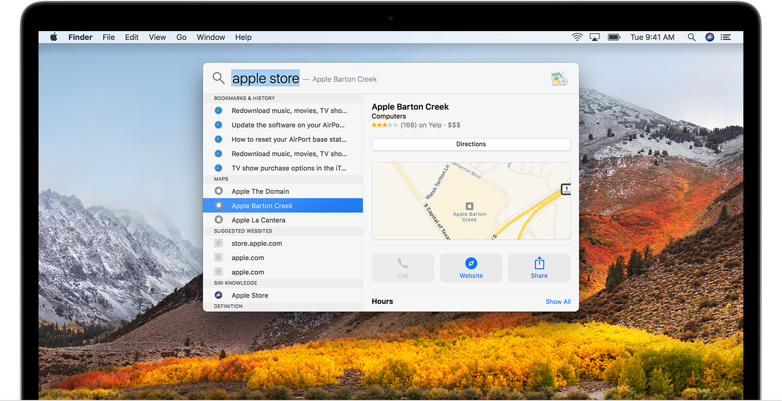 Maps search in Spotlight