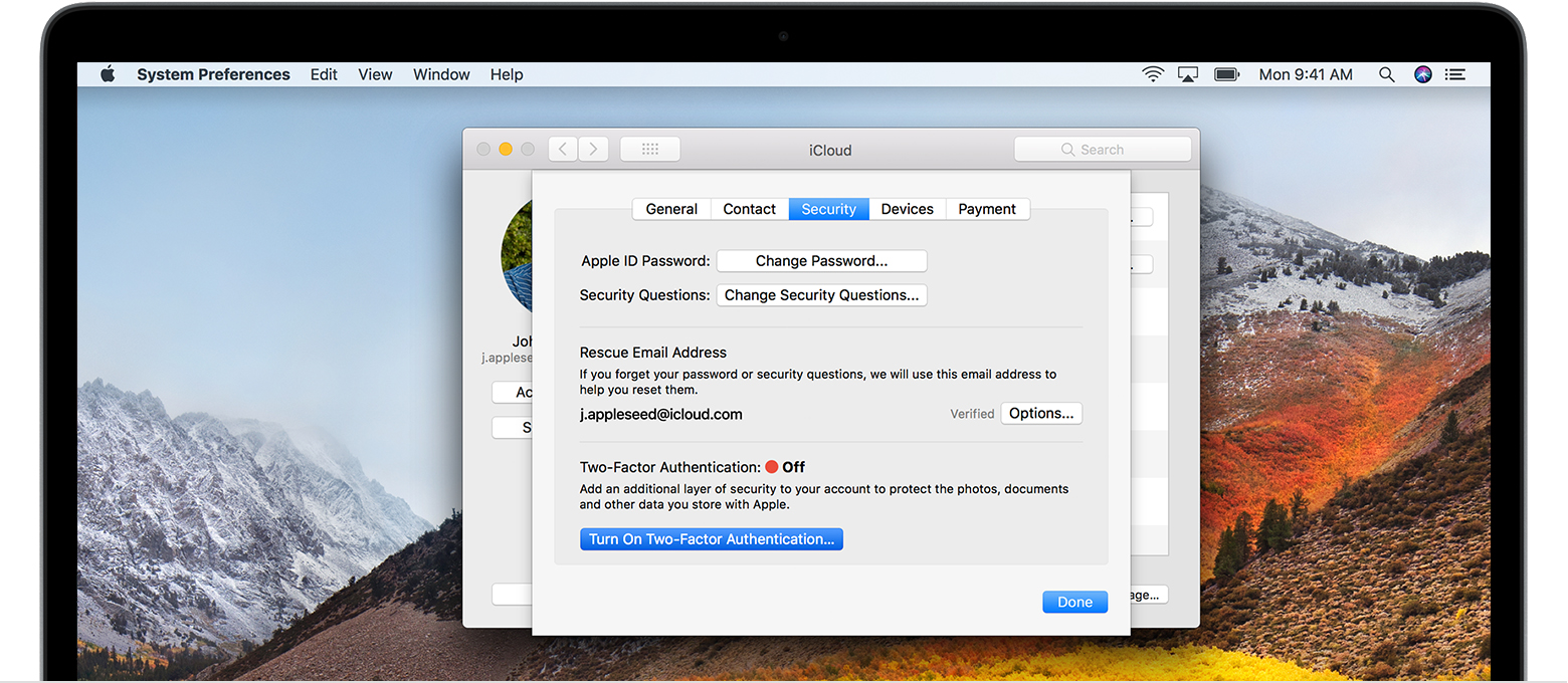Mac iCloud security screen