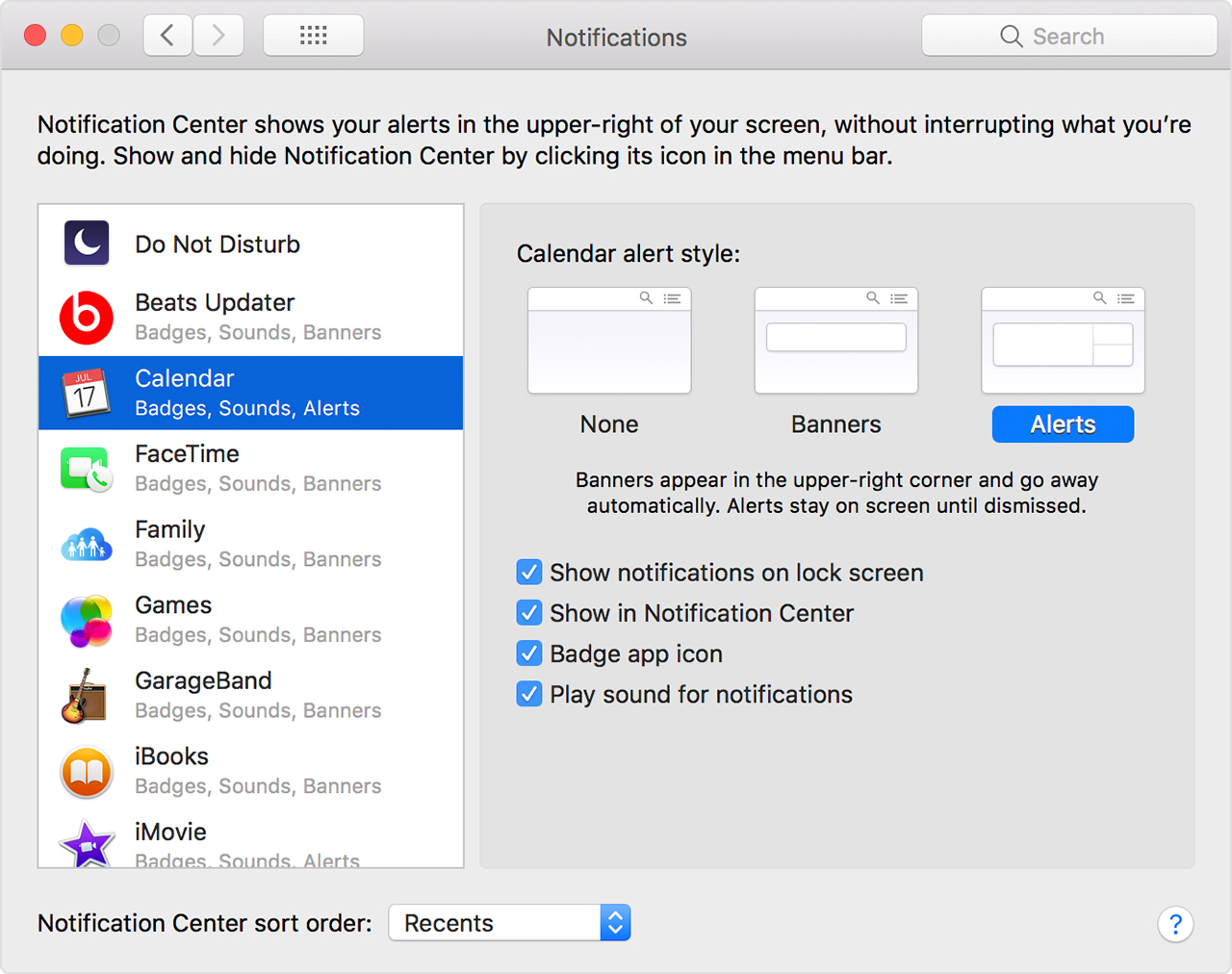 Notification options in Notifications preferences
