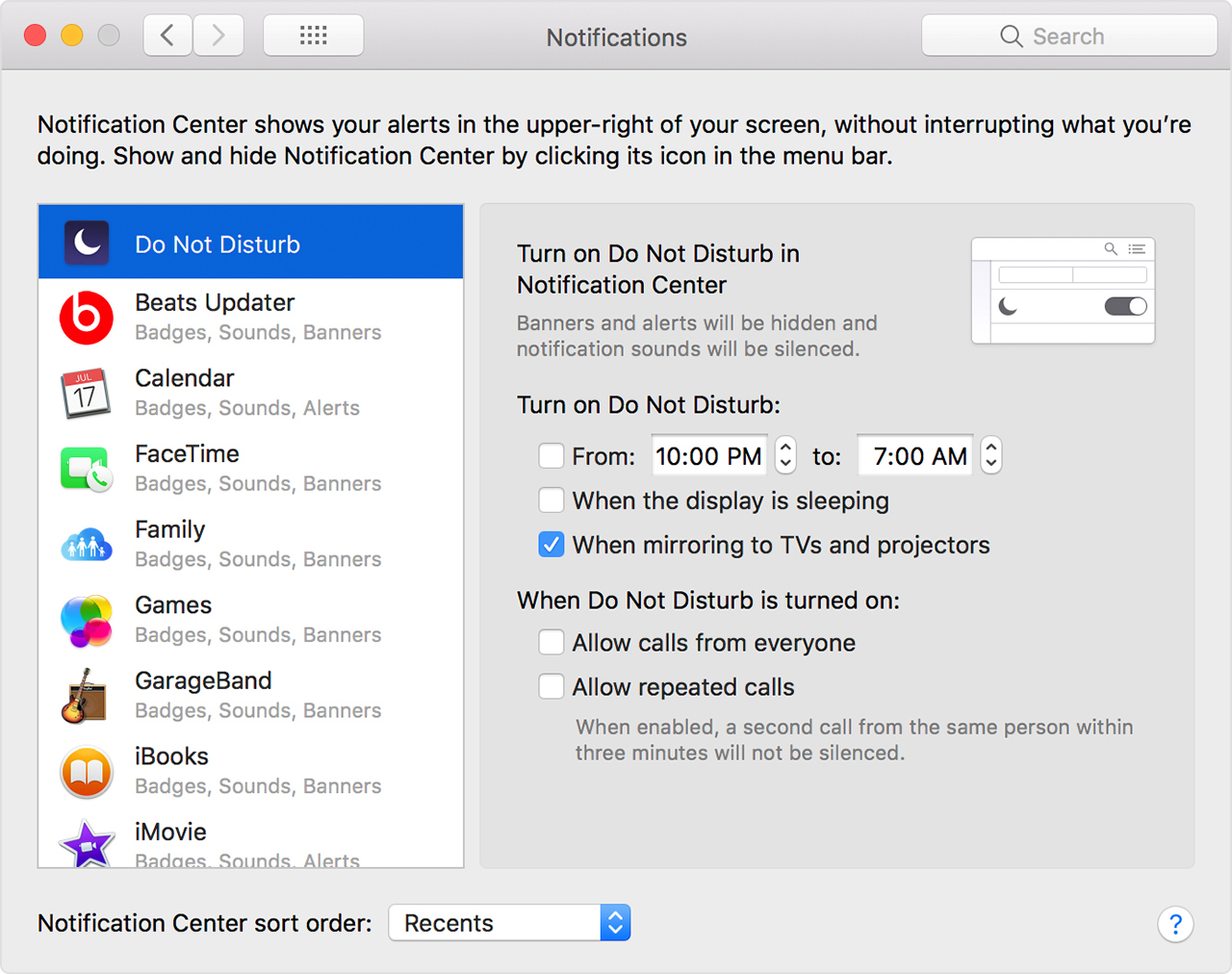 Do not disturb in Notifications preferences