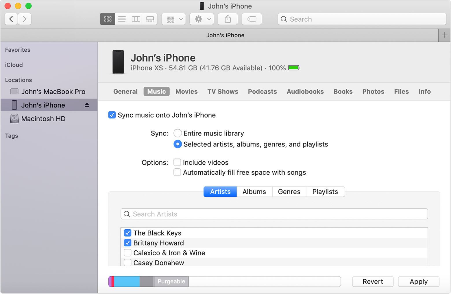 Use The Finder To Sync Your Iphone Ipad Or Ipod With Your Computer Apple Support
