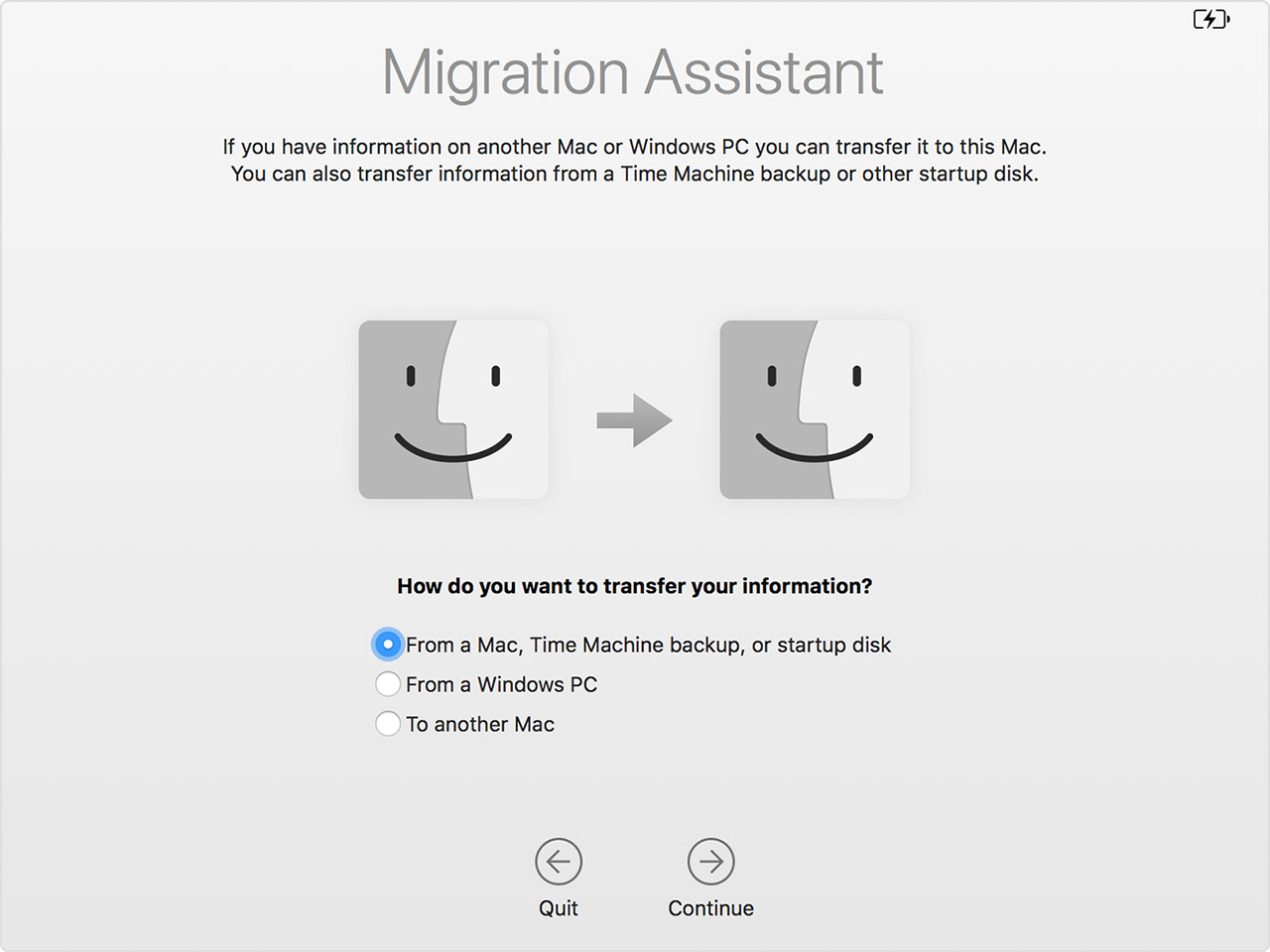 Migration Assistant window