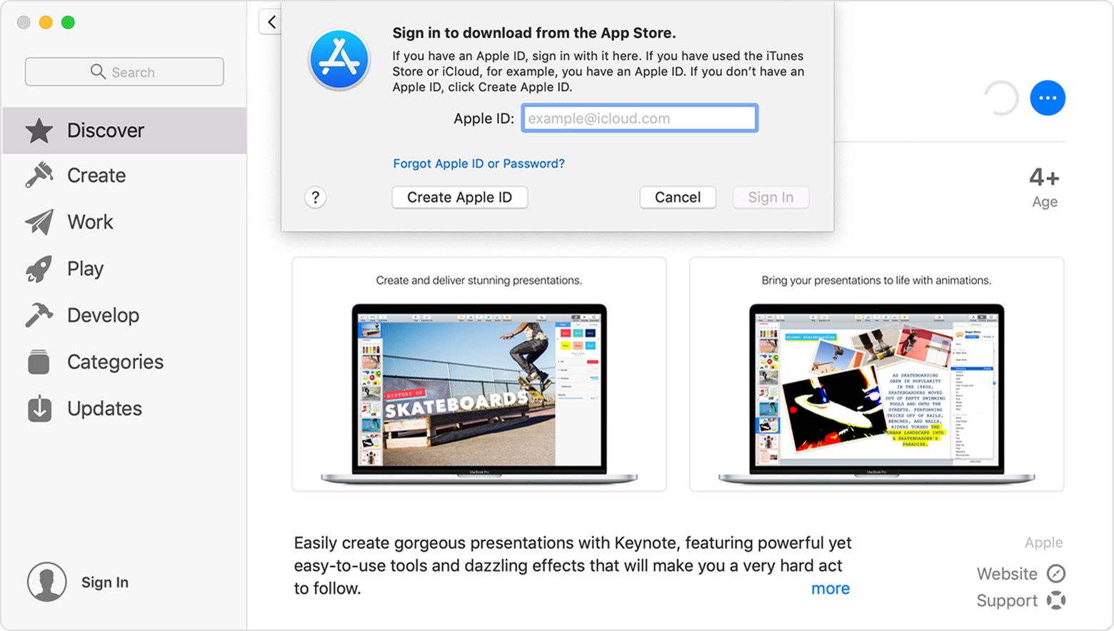 "A window of the App Store on Mac showing the Keynote app information page in the background and a ""Sign in to download from the App Store"" pop-up in the foreground."
