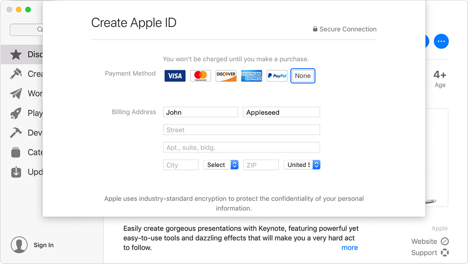 A window of the App Store on Mac showing the Keynote app information page in the background and a Create Apple ID pop-up in the foreground. None is selected as the payment method.