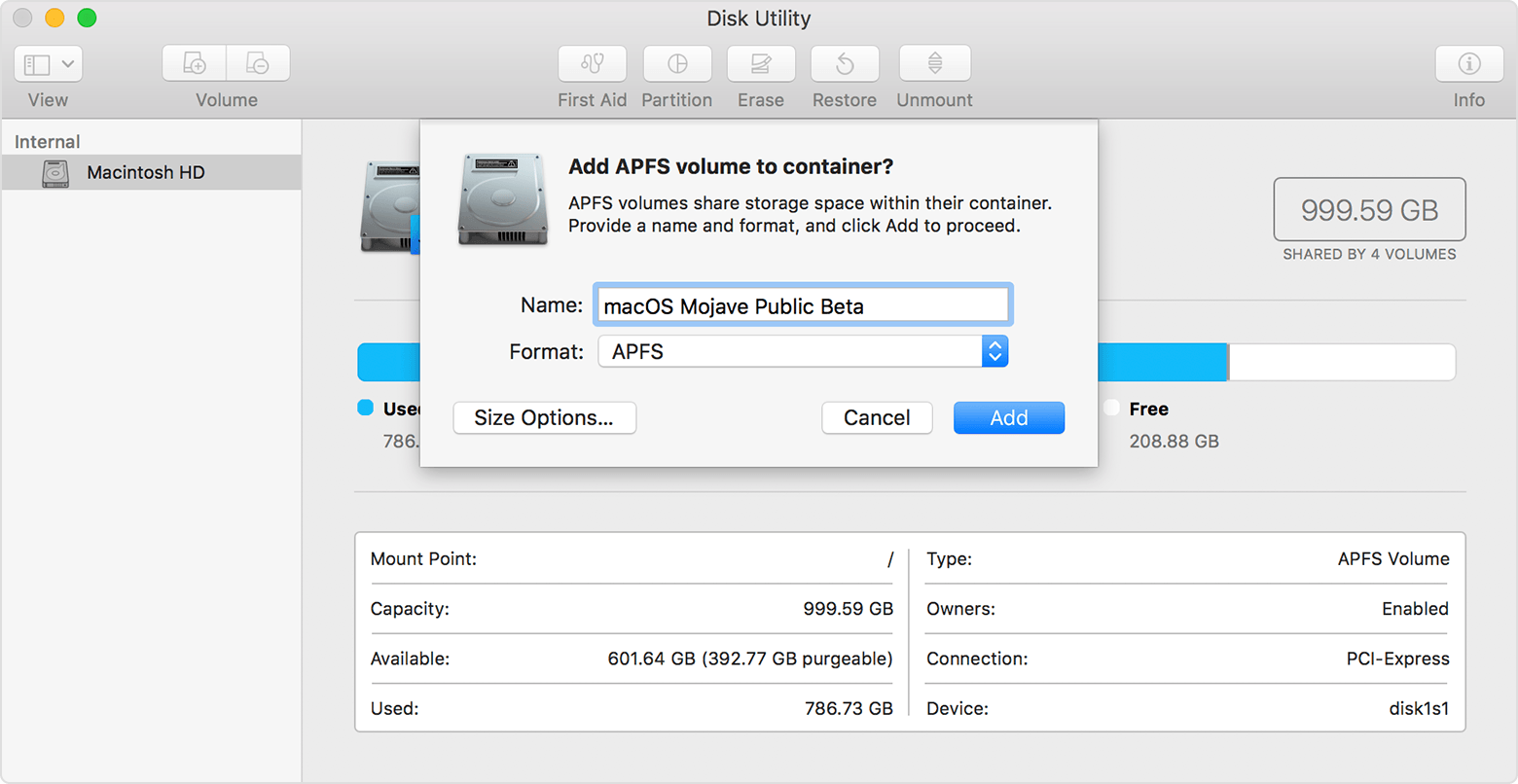 Disk Utility window, after choosing the option to create a new APFS volume. The Name field contains the words macOS Mojave Public Beta. The Format menu has APFS selected.