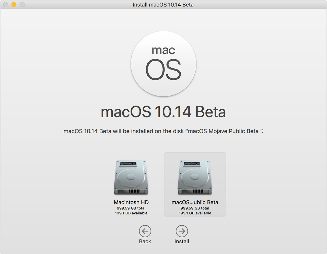 macOS installer screen, showing the second volume selected