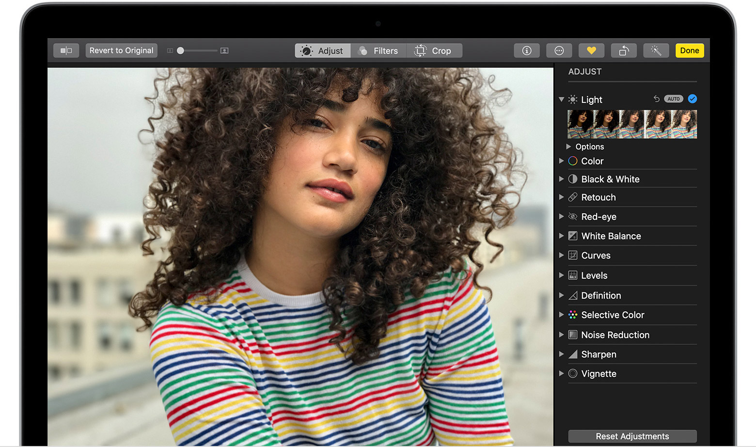 editing a photo in Photos on Mac