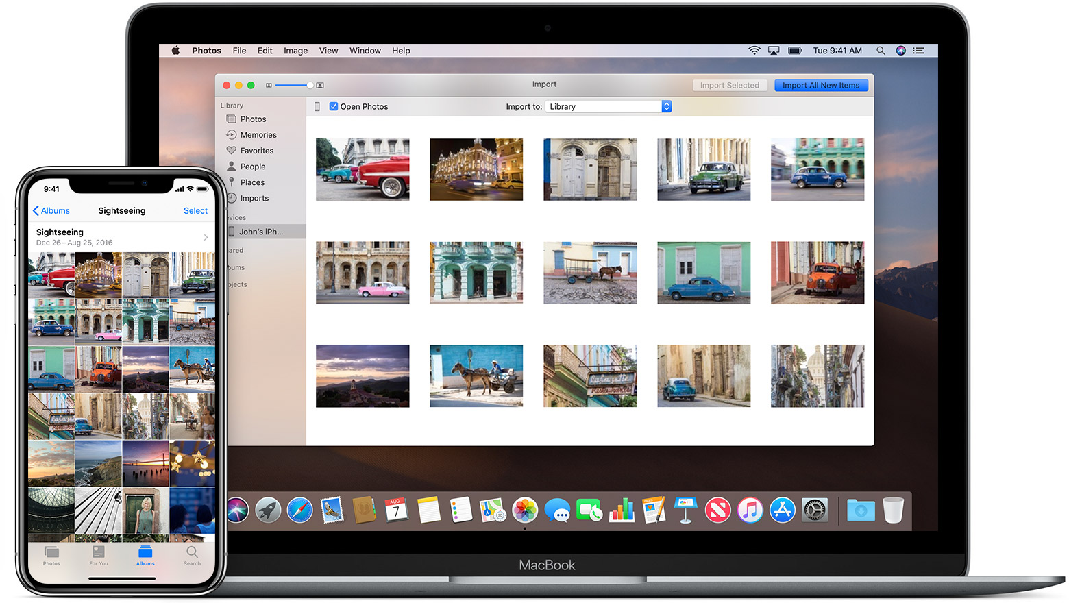 How can i download photos from my iphone to my imac