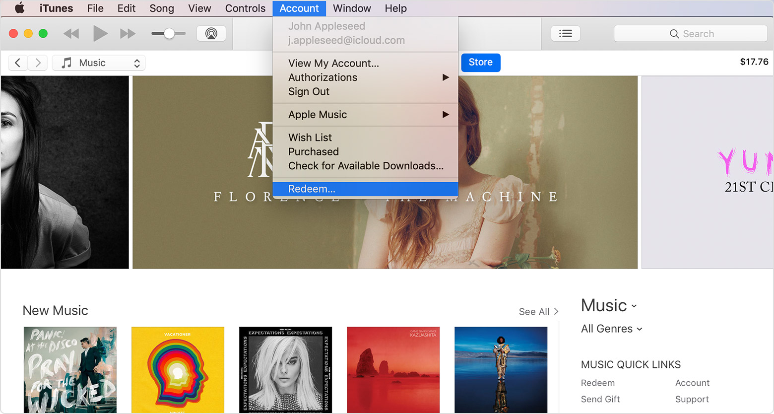 The Account menu in iTunes, with Redeem selected.