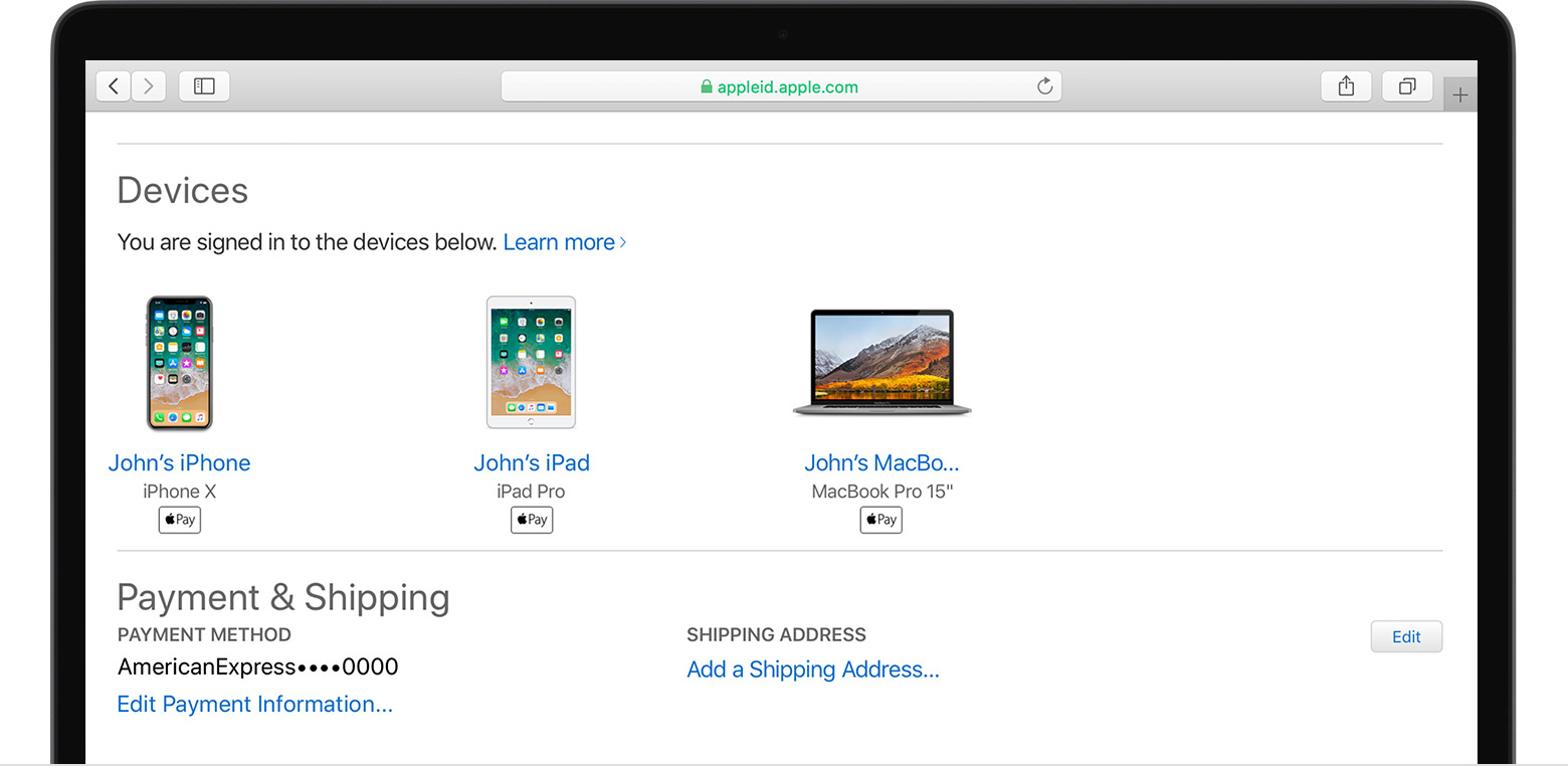 Mac showing Devices signed in and Payment & Shipping