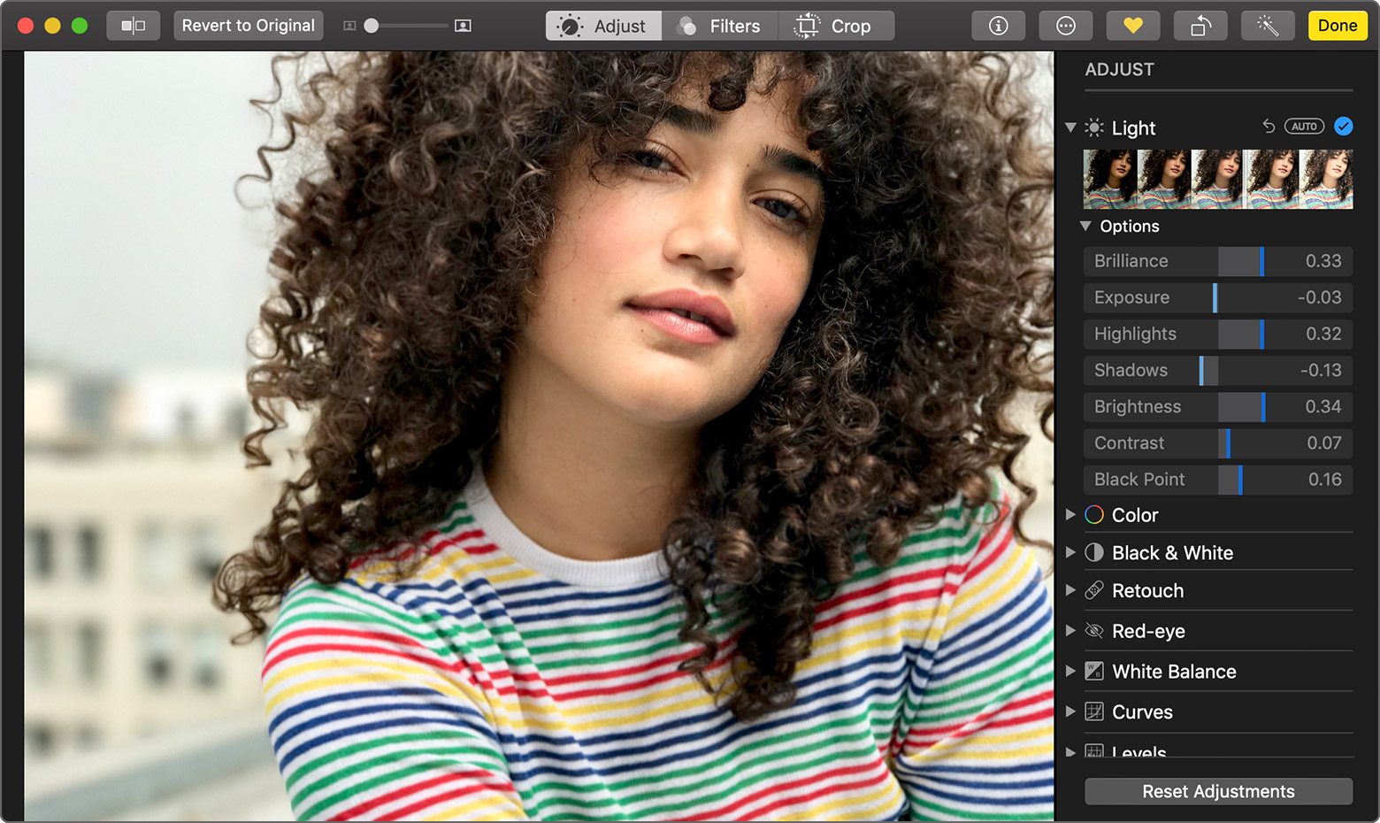 using the Light editing options in Photos on Mac