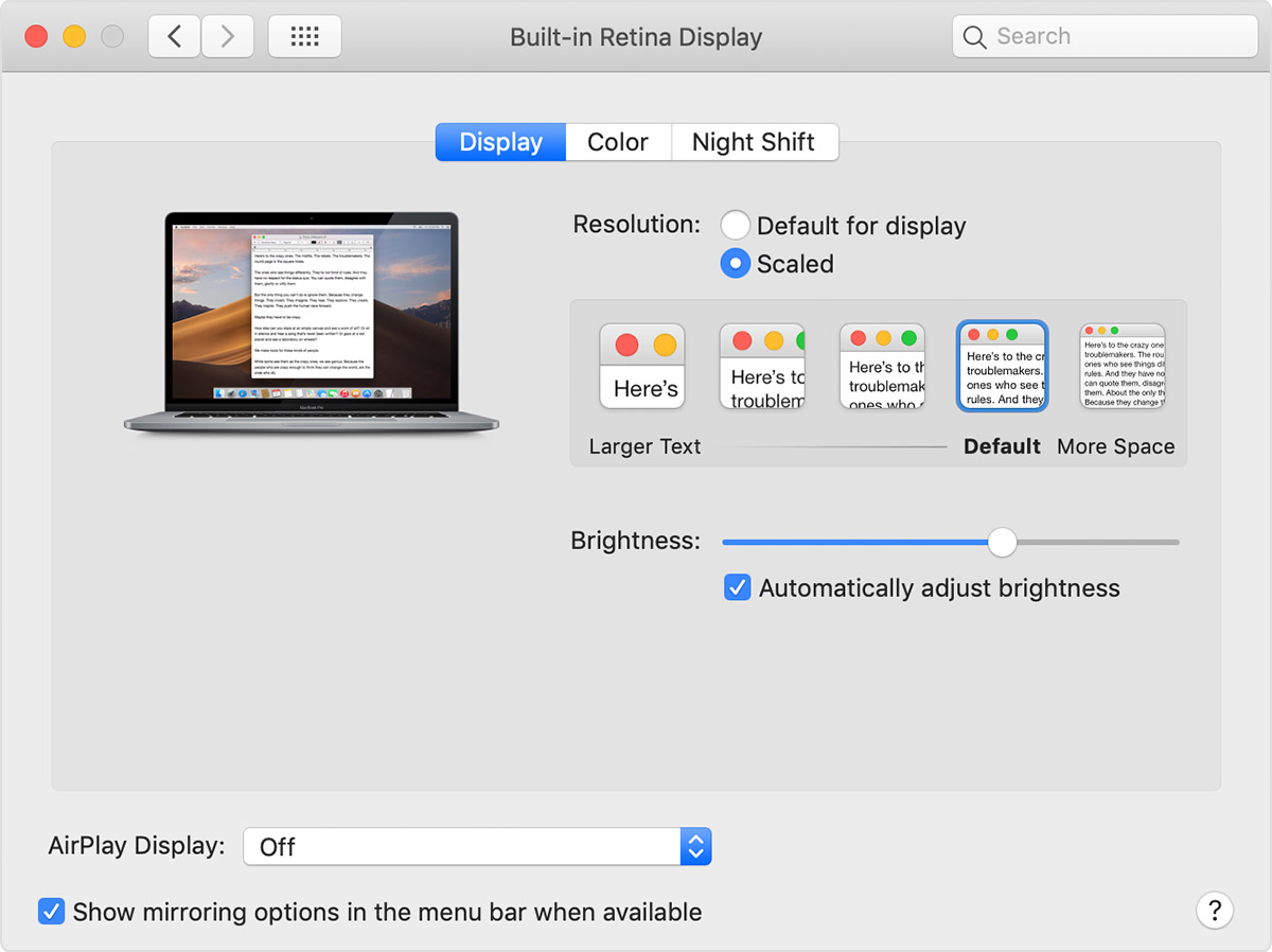 Using a Retina display - Apple Support