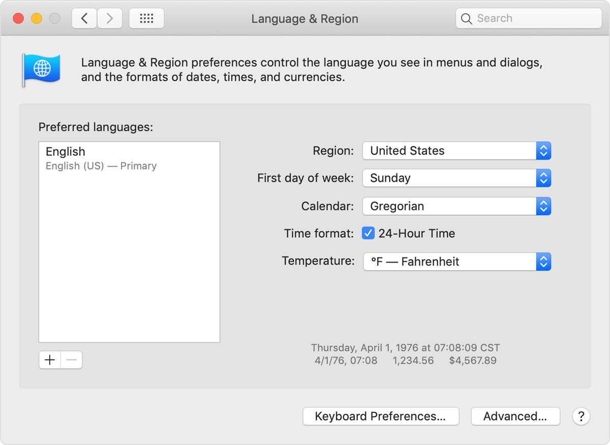 Language & Region preferences window