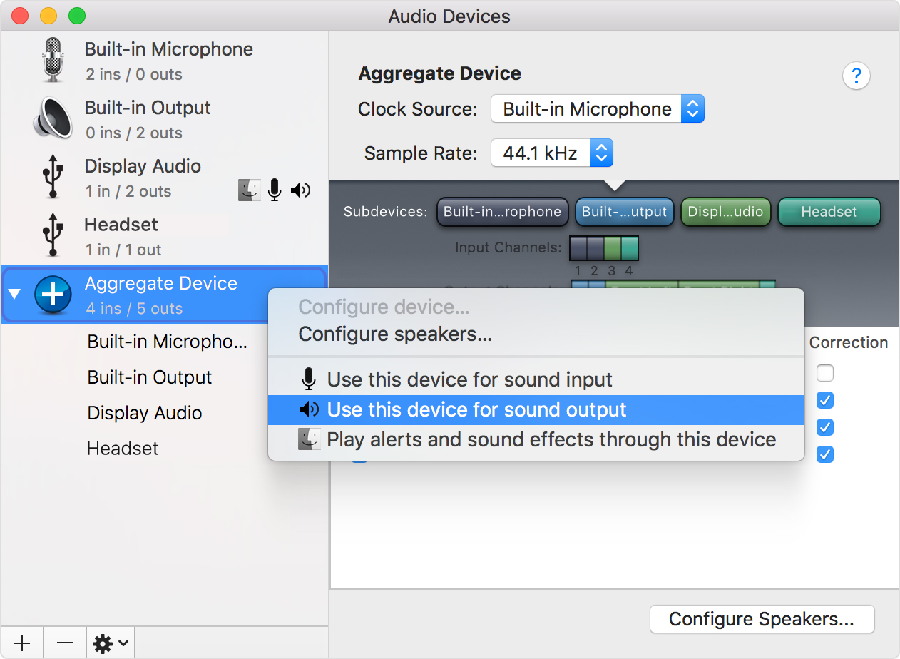 Combine multiple audio interfaces by creating an Aggregate