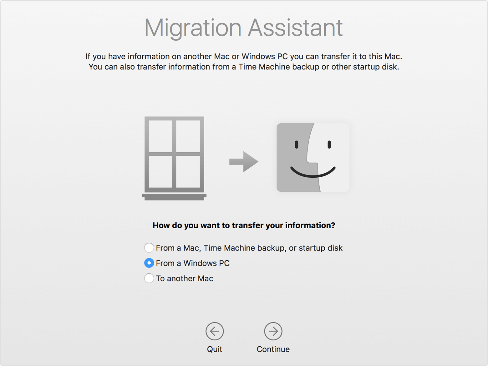 Choosing a transfer method in Migration Assistant